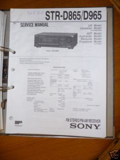 Service Manual Sony STR D865/STR D965 Receiver ORIGINAL