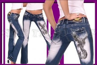 Crazy Age Damen Jeans Hüftjeans Bootcut Tattoo Phönix Tribal Neu Gr