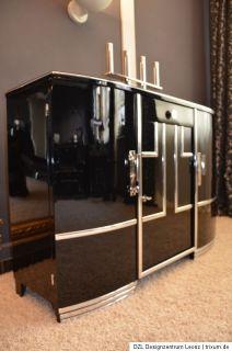 Art Deco Sideboard Frankreich Hochglanz Lack schwarz 30er Chrom