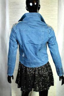 Vintage Biker Jeansjacke Hellblau Ice acid Jeans Killer Nieten Damen
