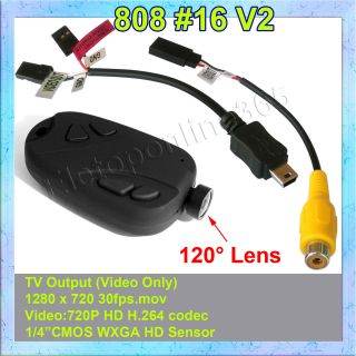 Mini DVR 808 #16 V2  Lens D Car Key Chain Micro Camera HD 720P Pocket