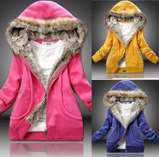 Damen Winter Sweat Jacke Mantel mit Kapuze verschied.Farben+Größen