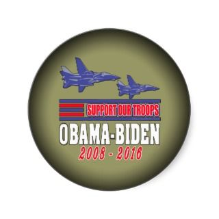 Obama Biden Support Our Troops Round Sticker