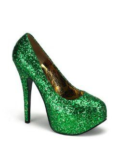 Sexy Green Glitter High Heel Platform Pump   10 Shoes