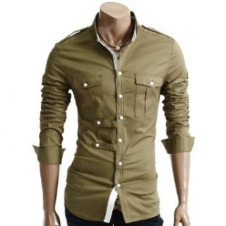 Doublju Mens Double Button Style Shirt Clothing