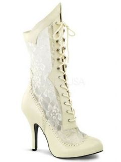 Ivory Lace Victorian Wide Width Shaft Calf Boot   12 Clothing