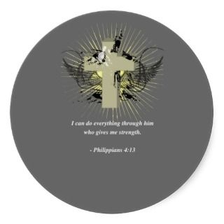 PHILIPPIANS 413 Bible Verse Round Stickers