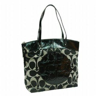 Signature Laura North South Bag Purse Tote 18335 Black White Shoes