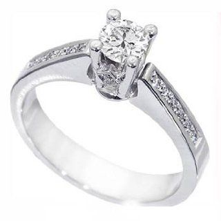 0.37Ct VS Round Diamond Accent Engagement Ring 18k Gold
