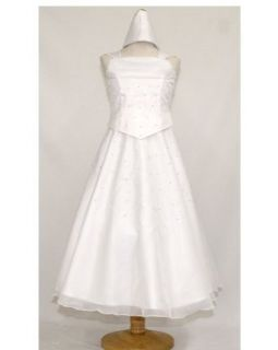 White Pear Beaded Communion Dress with Lace Trimmed Shawl
