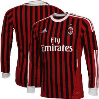 Adidas Mens AC Milan Soccer Home Long Sleeve Jersey Shirt
