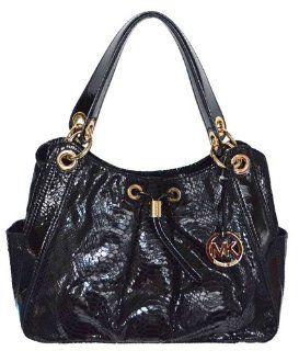 Black Snakeskin Leather LUDLOW Large Shoulder Tote Bag Handbag Shoes