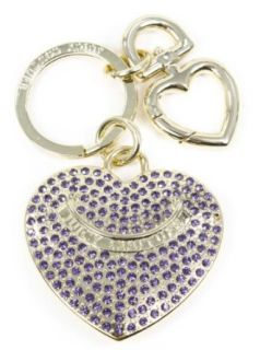 Juicy Couture Signature Gold Purple Pave Heart Key Fob