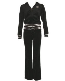 Ladies Black Velour Zipper M Shield Embroidered Tracksuit