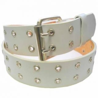 MENS/WOMENS WHITE TWO METAL ROW PUNK LEATHER BELTS, LARGE