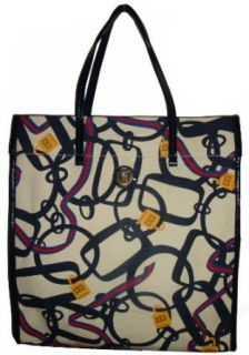 Womens Tommy Hilfiger Large Mag Tote Handbag (White/Navy