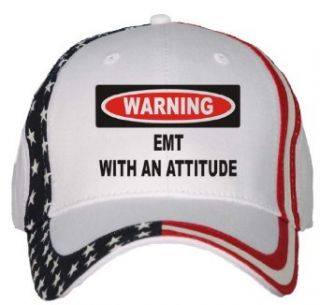 Warning EMT with an attitude USA Flag Hat / Baseball Cap