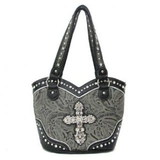 Cross Handbags Rhinestone Studs Flower Fashion Purse