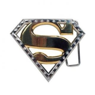Superman Logo Gold Rhinestone Belt Buckle: Clothing