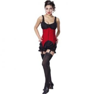 Sexy Theatre Costumes Red Black Corset Saloon Girl