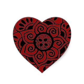 red heart henna tribal tattoo sticker