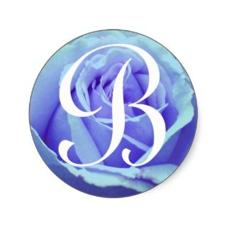 Monogram Letter B Blue Rose Sticker