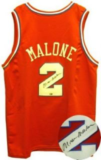 Moses Malone Signed Red 76ers Jersey