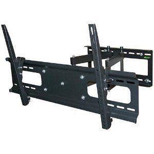 Black Dual Arm Tilt / Swivel Extension Wall Mount Bracket