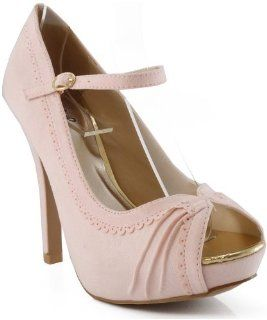 com Qupid Precious 33 Scalloped Open Toe Mary Jane Pumps PINK Shoes