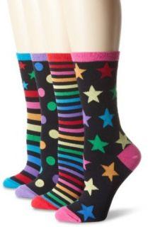 K. Bell Socks Womens Mix It Up Crew 4 Pack Sock, Multi, 9
