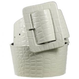Wide White Crocodile Genuine Leather Belt (L (35 37)) Clothing