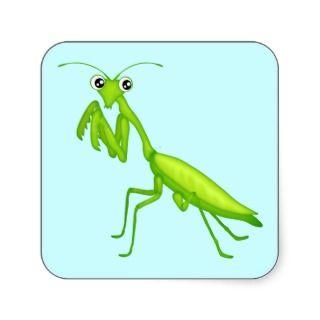 Green Cartoon Praying Mantis Sticker Sheets