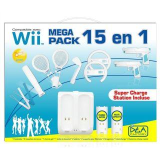 WII MEGA PACK 15 EN 1 DEA FACTORY   Achat / Vente LOT ACCESSOIRE
