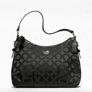 Coach Madison Op Art Sateen Top Handle Purse Black F46854