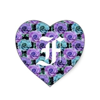 Monogram Letter F Blue Roses Heart Sticker