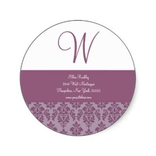 Monogram Custom Address Labels Seal Round Sticker
