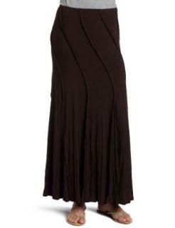 Karen Kane Womens Long Crushed Godet Skirt,Brown,X Large