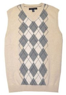 Tommy Hilfiger Men Checkard Sweater VEST (M, Beige/gray