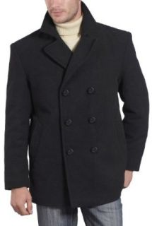 BGSD Mens Cashmere Blend Pea Coat   Black Large Clothing