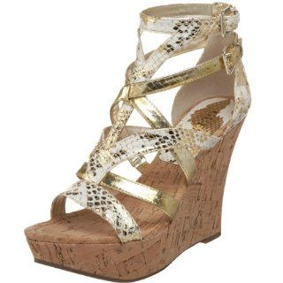 GUESS Womens Kena i2 Wedge,Gold Multi,5 M US Shoes
