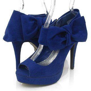 Anne Michelle Essence42 Platform Pumps Blue Suede Shoes