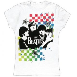The Beatles   Neon Checkers Juniors T Shirt Clothing