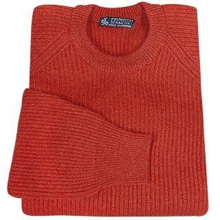 Principe di Salina Red Cashmere Ribbed Crewneck Sweater 42
