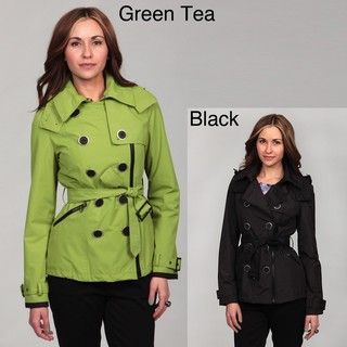 Miss Sixty Womens Double Breasted Asymmetrical Zip Trench Coat