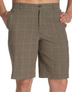 IZOD Mens Linen/Cotton Glen Plaid Flat Front Shorts