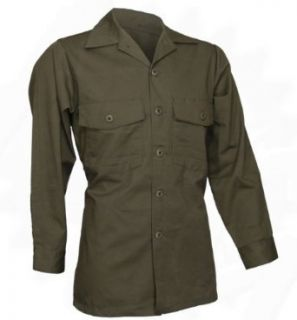 Military Utility Work Shirt, Button Down, Olive Drab Green