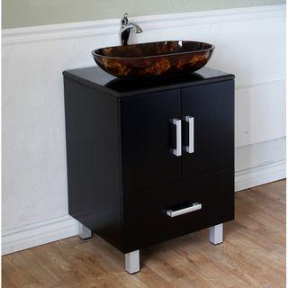 Black 22 inch Birch Wood Single Bathroom Vanity and Sink