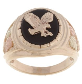 Mens 10/14k Black Hills Gold Eagle Onyx Ring