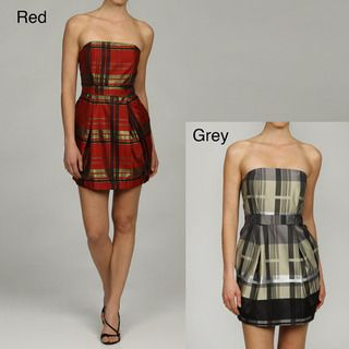 Issue New York Womens Strapless Plaid Cocktail Dress