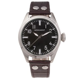 Monument Mens Faux Crocodile Strap Analog Watch